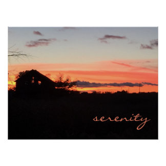 Serenity Sunset on the Farm Poster