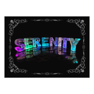 Serenity  - The Name Serenity in 3D Lights (Photog Photo Print