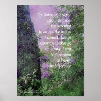 Serenity Tree & Lilacs Poster