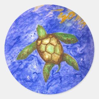 Serenity Turtle Round Stickers