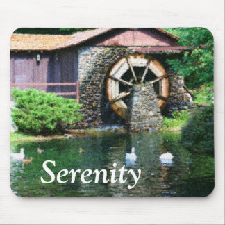 Serenity Water Wheel Inspirational Mousepad