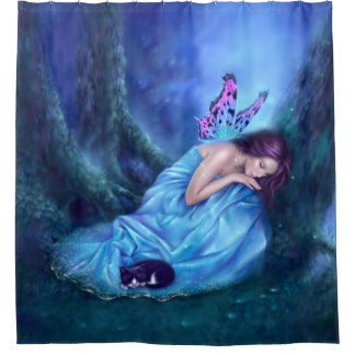 Exceptional Serenity Woodland Butterfly Fairy Shower Curtain