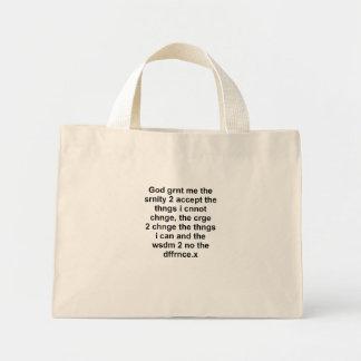 Serentiy Prayer black on white Bags