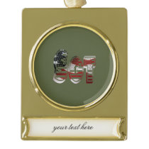 Sergeant USA Military Army Green American SGT Gold Plated Banner Ornament