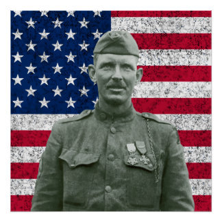 Sergeant York and The American Flag Poster