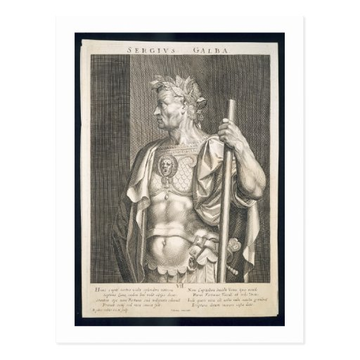 Sergius Galba Emperor of Rome 68 AD engraved by Ae Postcard