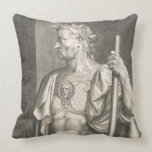 Sergius Galba Emperor of Rome 68 AD engraved by Ae Throw Pillow