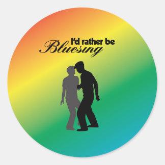 Sería bastante Bluesing con el fondo del arco iris Pegatinas Redondas