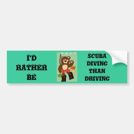 Sería bastante buceo con escafandra que conduciend pegatina de parachoque