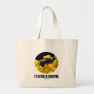 Sería bastante la apicultura (la abeja en la flor bolsa tela grande