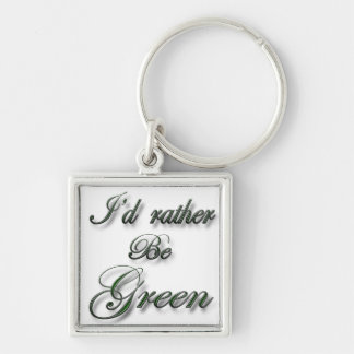 Sería bastante verde llavero cuadrado plateado
