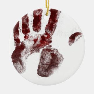 Serial killer blood handprint ceramic ornament