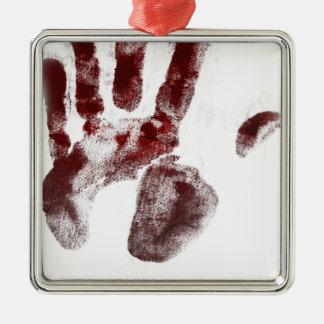 Serial killer blood handprint metal ornament