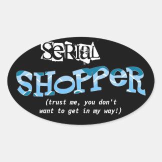 Serial Shopper (in blue) Oval Sticker