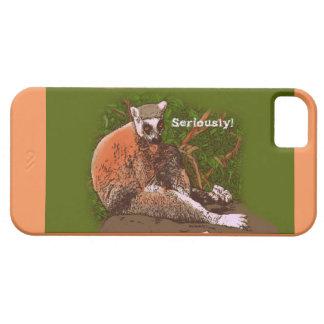 ¡Seriamente! Caja del teléfono celular del Lemur Funda Para iPhone 5 Barely There
