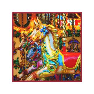 Serie 28 del caballo del tiovivo impresión en lienzo