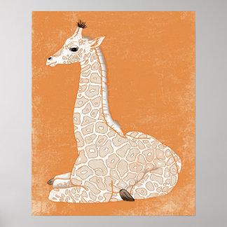 Serie animal africana - jirafa del bebé posters