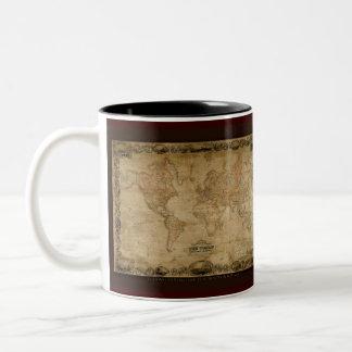 Serie antigua de la taza del mapa del mundo