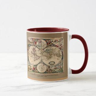 Serie antigua de la taza del mapa del mundo de