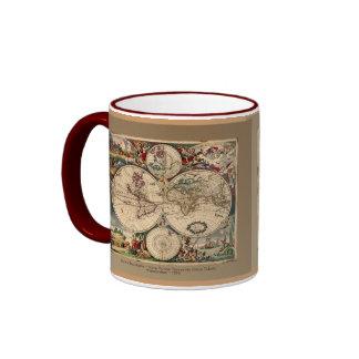 Serie antigua de la taza del mapa del mundo de Dan