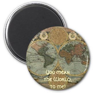 Serie antigua del mapa imán redondo 5 cm