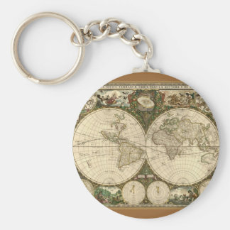 Serie antigua del mapa llavero redondo tipo pin