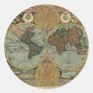 Serie antigua del mapa etiquetas redondas