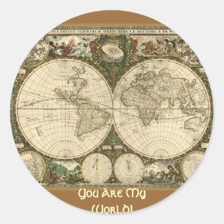 Serie antigua del mapa pegatina redonda