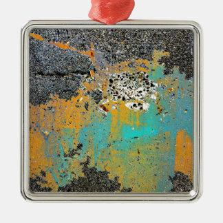 Serie concreta agrietada adorno navideño cuadrado de metal