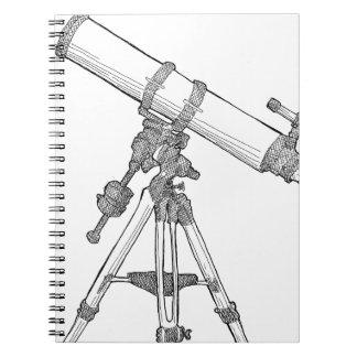 Serie de dibujo del telescopio libro de apuntes con espiral