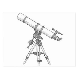 Serie de dibujo del telescopio tarjeta postal