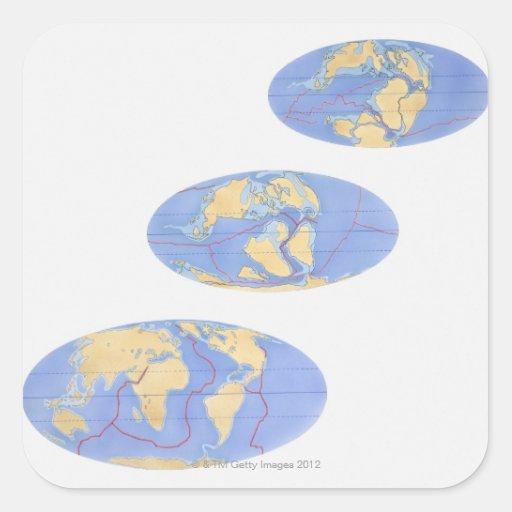 Serie de ejemplos de la tierra 200 millones calcomania cuadradas personalizadas