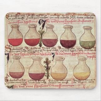 Serie de garrafas para el análisis de orina tapete de raton