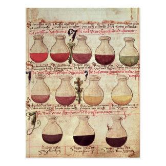 Serie de garrafas para el análisis de orina tarjetas postales