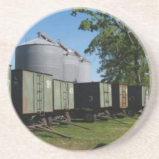 Serie de la granja---Silos y carros del cacahuete  Posavasos Para Bebidas