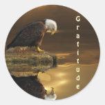 Serie de la GRATITUD de Eagle calvo Pegatina Redonda