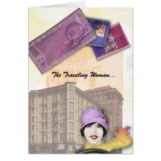 Serie de la mujer que viaja - aleta tarjeta de felicitación
