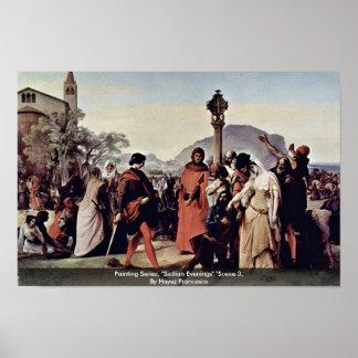 """Serie de la pintura, """"tardes sicilianas"""" """"escena 3 impresiones"""