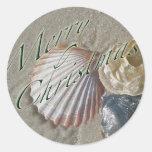 Serie de las Felices Navidad de los Seashells Pegatinas Redondas
