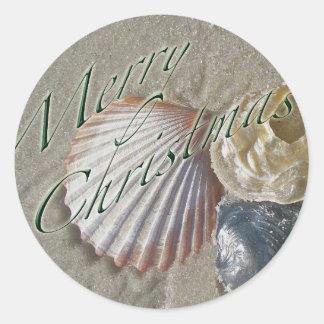Serie de las Felices Navidad de los Seashells Pegatina Redonda