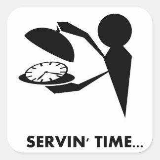 Serie de los idiomas del tiempo - tiempo de la pegatinas cuadradas personalizadas