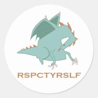 Serie de motivación del dragón del RESPECTO USTED Pegatinas Redondas