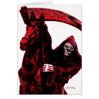 Serie de neón del jinete del parca de la sangre po tarjeta de felicitación