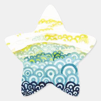 Serie de Seigaiha - abrazo Pegatina Forma De Estrella Personalizada