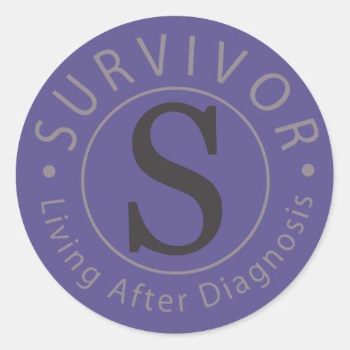 Serie del diseño del logotipo del superviviente de pegatina redonda