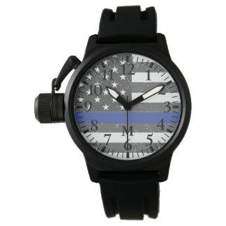 Serie del monograma: La línea azul fina Reloj De Mano