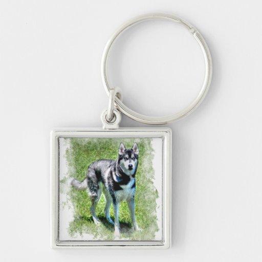 Serie del regalo del mascota de los Perro-amantes  Llavero Cuadrado Plateado