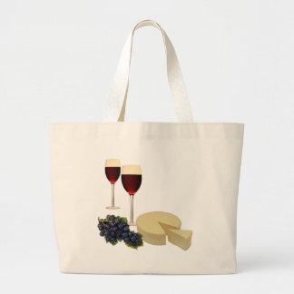 Serie del vino y del queso bolsa tela grande