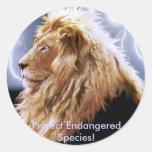 Serie en peligro león africano de la especie etiquetas redondas