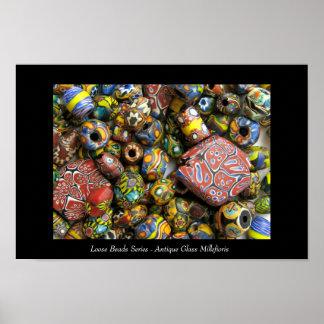 Serie floja de las gotas - vidrio antiguo de Mille Póster